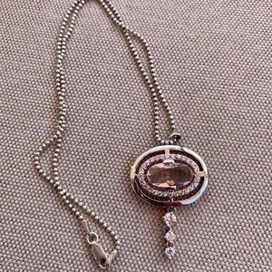 Jewelry - Sterling silver rose quartz and cz necklace